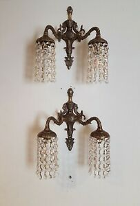 Pair Twin Arm Wall Lights Down Lights Strings of Crystals Vintage Bohemian