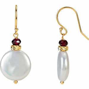 Freshwater Cultured Coin Pearl & Rhodolite Garnet Earrings In 14K Yellow Gold