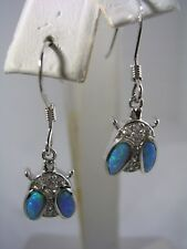LADYBUG DANGLING EARRING WITH OPALS AND CUBIC ZIRCONIA SET IN STERLING SILVER