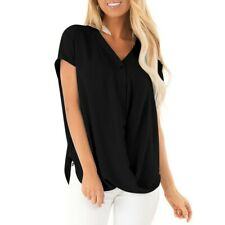 Women Summer Short Sleeve Chiffon Blouse T Shirt Loose V Neck Button Tops CA