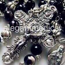 TIBET SILVER BEADS & BLACK Agate bead ROSARY CROSS CATHOLIC NECKLACE CRUCIFIX