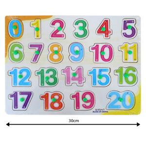 Kids Children Peg 0-20 Jigsaw Puzzle Toy Baby Developmental Wooden Cartoon Toy G