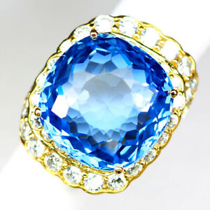 TOPAZ SWISS BLUE ANTIQUE 53.10 CT.SAPPHIRE 925 STERLING SILVER GOLD RING SZ 6.5