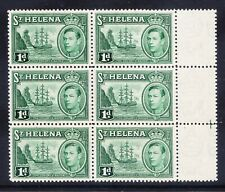 ST HELENA George VI 1938 SG132 1d green - block of 6 - unmounted mint. Cat £84