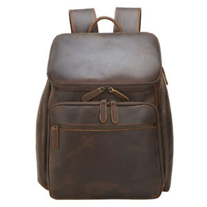 "Men Leather Backpack Daypack Travel Bag Large Capacity Business 15.6"" Laptop Bag"