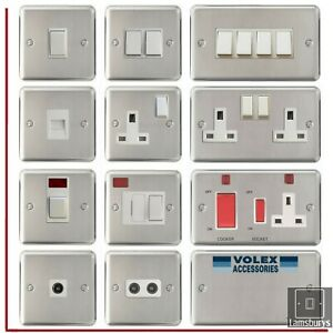 Volex Brushed Stainless Steel Light Switches and Electrical Sockets White Insert