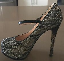As New LEONTYNE Blush & Black Lace Platform Pumps w Ankle Straps Size 10 - Sexy