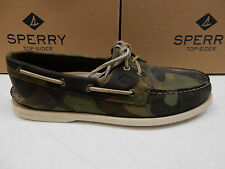 SPERRY TOP SIDER MENS BOAT SHOES A/O 2-EYE GREEN CAMO SIZE 8.5