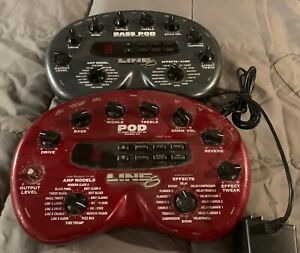 Lot Of 2 Vintage Line 6 POD 2.0 Guitar and Bass MultiEffects Processors