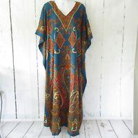 New Miss Lavish Kaftan M L XL Teal Paisley Kimono House Dress V Neck Mumu