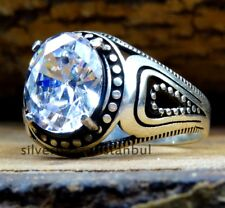 Turkish 925 Sterling Silver White Zircon stone Solid Mens Mans ring ALL SİZE us