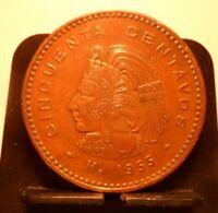 CIRCULATED 1955 50 CENTAVOS MEXICAN COIN (52419)1