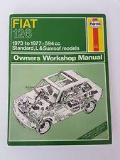 FIAT 126 HAYNES MANUAL 1973 TO 1977 STANDARD L SUNROOF MODELS 594cc