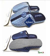 DE FONSECA Ciabatte pantofole uomo cotone rasato punta chiusa CRAV63 blu azzurro