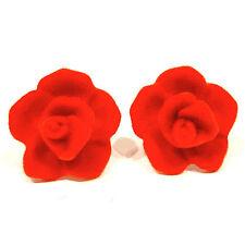 SoHo® Ohrclips Velvet Samt Rose signalrot Samtrose Trachtenschmuck Oktoberfest