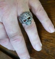 Silver 925 SKULL ring Gothic filigree Ladies Mens 7 8 9 11 N Q S W Biker Cross