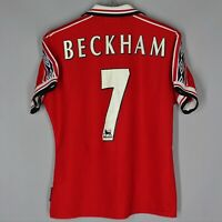 MANCHESTER UNITED 1998 1999 HOME FOOTBALL SHIRT JERSEY WOMEN SIZE 12 #7 BECKHAM