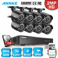 US ANNKE 4CH/8CH 1080P HDMI DVR HD 2MP IR Home Security Camera System NO-1TB HDD