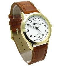Ravel Mens Super-Clear Easy Read Quartz Watch Brown Strap White Face R0130.22.1