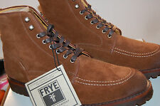 Frye Walter Country Boots Made in U.S.A. Waxed suede Brown Leather NIB 11 Mens