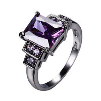 Size 6-10 Purple Amethyst Engagement Ring Women's 10KT Black Gold Filled Jewelry