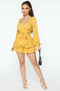 *FashionNova* In The Game Romper, In Mustard Yellow / Size UK XL