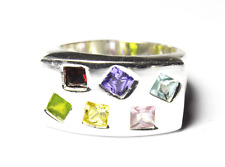 Beautiful Sterling Silver Square Six Stone Candy Ring Ring 12mm Size 7.5