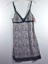 Izod Intimates Navy & Beige Floral Cami Camisole Sexy Lace Lingerie NWT Sz L