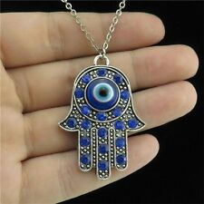 "18"" Silver Chain Collar Necklace Blue Rhinestone Evil Eye Hamsa Hand Pendant"