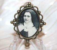St. Therese/Sepia Tone/Custom Bronze Rosary Center Part/Rosary Making