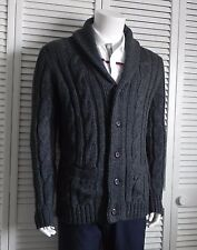 NEW Mens SIZE 2XL ALPACA Dark Gray Shawl Collar Cable Knit Cardigan Sweater PERU
