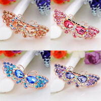 Women's Crystal Hair Clips Pins Slide Butterfly Barrettes Hair Grips Accessories
