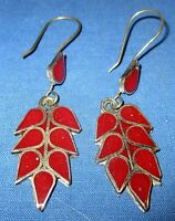 "Earrings Teardrop Gemstone Afghan Kuchi Tribal Alpaca Silver 1 1/2"" or 2"""