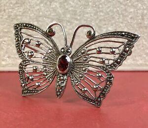 925 Sterling Silver Garnet/Marcasite Gemstone Butterfly Brooch Pin Fine Jewelry