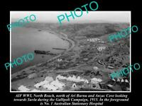 OLD 8x6 HISTORIC PHOTO WWI AERIAL VIEW OF GALLIPOLI & ANZAC COVE Nth/B c1915