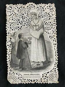 SUPERBE CANIVET IMAGE PIEUSE HOLY CARD Vierge Immaculée Bouasse Lebel 897