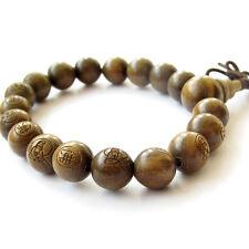 Buddha Word Bodhisattva Sandalwood Wood Beads Tibet Budhist Prayer Bracelet Mala