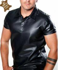 Mens Polo Shirt Genuine Leather Elegant Mens Casual Formal Shirt Snap Closure