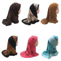 Children Muslim Kid Girls Hijab Amira Scarf Turban Headscarf Wrap Shawl Islamic