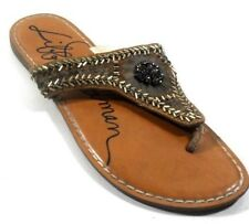 Libby Edelman GOLDI Women's Brown Leather Thong Slides Beaded Flip Flops 8M