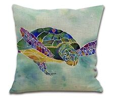 Cotton Linen Square Throw Pillow Case Cushion Cover for Living Room Sea turtles