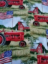 Patriotic Flag Tractor Farm 100% Sewing cotton fabric Kate Ward Thacker 37in NEW