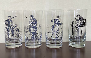 Set of (4) Paul Brown for Brooks Brothers Highball Glasses Mixed Collection EUC