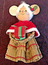 VTG Wheat Weaving and Wood Mrs. Claus Christmas Mouse Tree Ornament Broomstick?