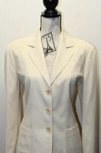 Vintage Saks Fifth Avenue Made in Italy Women Beige Blazer Looks Like XL Cotton