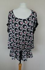 Gallery Black Purple Pink Grey Geometric Print Silky Front Top Plus Size 20 BNWT