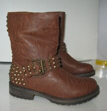 Tan Womens Military Combat Riding Sexy Ankle Boot With Spikes Size 6.5