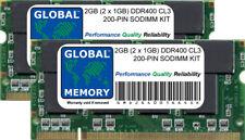 2GB (2 x 1GB) DDR 400MHz PC3200 200-PIN SoDIMM Memoria RAM Kit per computer portatili