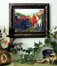 Herberte DEPARTURE Horse Fox Hunt Print Antique Style Framed 11x13 fh