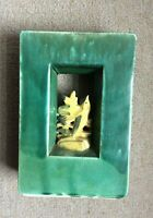 Vintage McCoy Arcature Vase Green with Yellow Bird 1951 VG Made in USA